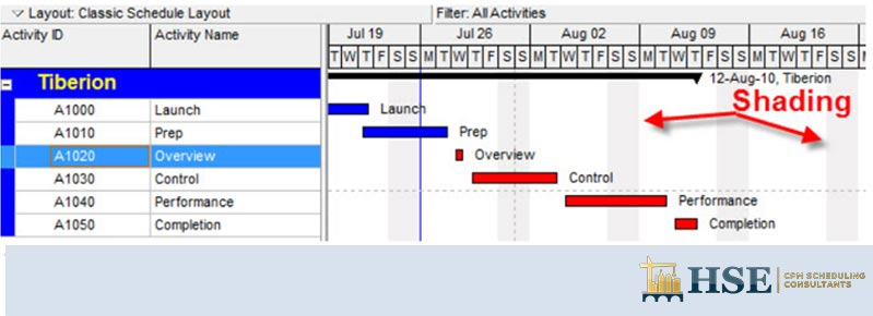Shade your non-work time activity gannt chart in P6 | Simplify your Gantt Chart